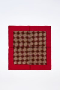 Hermès Burgundy Silk Printed Pocket Square