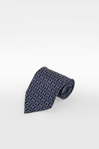 "Hermès Blue Silk Tie with ""H"" Logo"