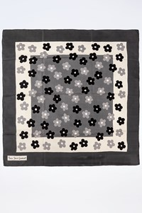 YSL Silk Scarf with Floral Print in Grey-White Tones