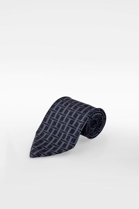 Hermès Blue-Black Silk Logo Printed Tie