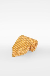 Hermès Yellow-White Silk Logo Printed Tie
