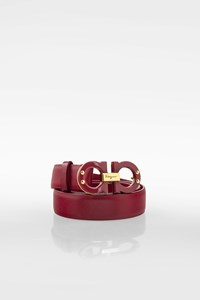 Salvatore Ferragamo Magenta Leather Belt with Logo Buckle