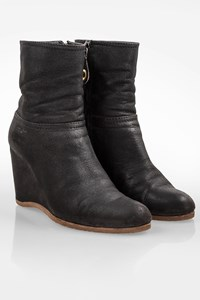 Car Shoe Black Leather Platform Booties / Size: 37 - Fit: True to size