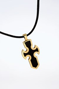 Gavello 18Κ Gold Cross Pendant with Essenza on Black Cord