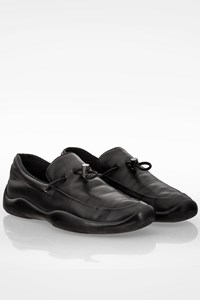 Prada Sport Black Leather Loafers with Decorative Laces / Size: 37 - Fit: 38