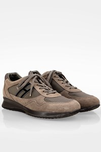 Hogan Taupe Time Active Mod Suede Sneakers / Size: 41.5 - Fit: True to size
