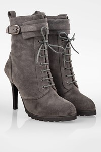 Lola Cruz Dark Grey High Heeled Booties with Laces / Size: 38 - Fit: True to size