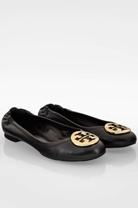 Tory Burch Black Minnie Leather Ballet Flats / Size: ? - Fit: 38