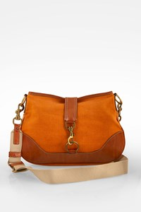 Miu Miu Orange Vintage Saddle Leather and Canvas Cross Body Bag