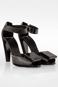 Pierre Hardy Black Patent Leather Peep Toe Ankle Strap Sandals / Size: 39 - Fit: 38.5