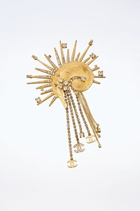 Chanel Rare Gold-Plated Feather Brooch Pin with Crystals