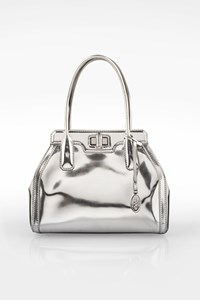 Tod's Silver Mirror Metallic Leather Small Tote Bag