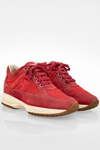 Hogan Interactive Red Suede-Denim Sneakers / Size: 36 - Fit: 37