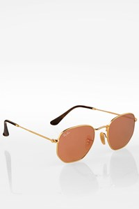 Ray Ban Golden RB 3025 001/Z2 Hexagonal Metallic Sunglasses