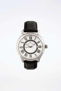 Folli Follie Silver Stainless Steel Watch with Leather Strap