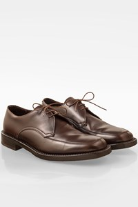 Prada Brown Leather Lace Up Derby Shoes / Size: 10 (44) - Fit: True to size