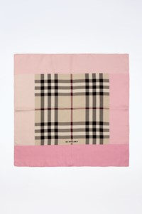 Burberry Check Print Silk Scarf with Pink Trim