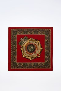 Royal Corps of Transport Multicoloured Printed Silk Scarf with Burgundy Trim