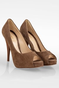 Fendi Taupe Suede Leather Peep Toe Pumps / Size: 36 - Fit: True to size