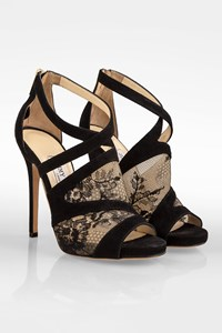 Jimmy Choo Black Suede and Lace Peep Toe Sandals / Size: 36 - Fit: True to size