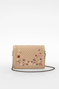 Bottega Veneta Beige Mist Intrecciato Meadow Flower Mini Montebello Shoulder Bag