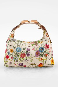 Gucci White Floral Canvas Horsebit Hobo Bag
