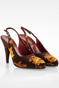 Prada Brown Floral Canvas Slingbacks / Size: 37 - Fit: 38