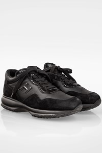 Hogan Black Interactive Suede and Leather Sneakers / Size: 37.5 - Fit: 38.5