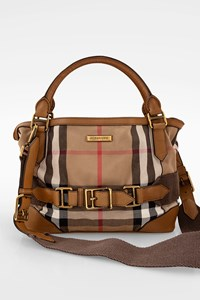 Burberry Nova Check Canvas and Tan Leather Tote Bag