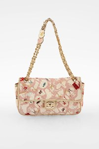 Chanel Baby Pink Printed Canvas Medium Single Flap Bag