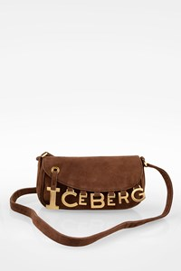 Iceberg Brown Suede Crossbody Bag with Logo Charms