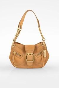 Dkny Beige Leather Shoulder Bag with Metallic Logo Plate