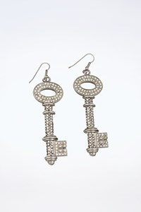Dolce & Gabbana Silver Tone Crystal Embellished Key-Shaped Earrings