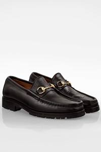 Gucci Black Leather Men's Loafers with Tractor Sole / Size: 44.5E - Fit: 44