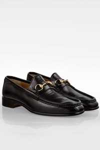 Gucci Black Leather Men's Loafers with Gold Tone Horsebit / Size: 44.5E - Fit: 44 (Tight)
