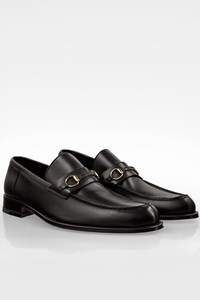 Gucci Black Leather Men's Loafers with Round Toe / Size: 11 D (44) - Fit: 44 (Tight)