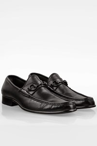 Gucci Black Leather Men's Loafers with Black Horsebit / Size: 44.5E - Fit: 44