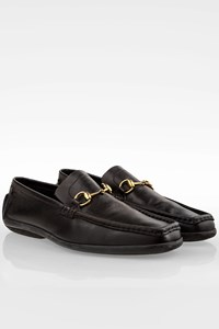 Gucci Black Leather Men's Loafers with Square Toe / Size: 44 - Fit: True to size
