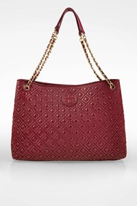 Tory Burch Burgundy Marion Leather Quilted Chain Shoulder Bag