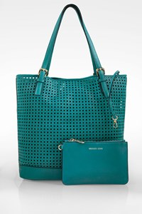 MICHAEL Michael Kors Petrol Perforated Leather Shoulder Bag with Pochette
