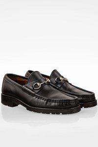 Gucci Black Leather Tractor Sole Loafers with Silver Horsebit / Size: 44.5E - Fit: 44