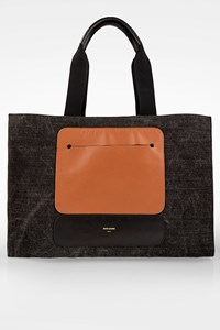 Zeus + Dione Dark Grey Denim Odyssey Canvas Tote Bag with Leather Details