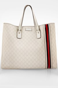 Gucci White Signature Web Canvas and Leather Travel Bag