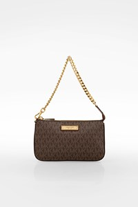MICHAEL Michael Kors Brown Logo Canvas Pochette with Chain