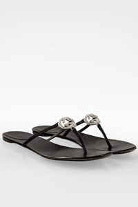 Gucci Black Satin Flat Sandals with Crystal Logo / Size: 40.5 C - Fit: True to size