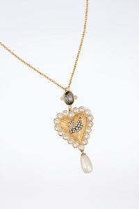 Swarovski Gold Tone Heart Necklace with Crystals