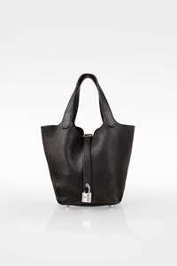 Hermès Black Leather Clemence Picotin Lock 18 Small Tote Bag