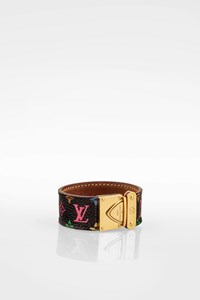 Louis Vuitton Koala Black Multicolor Monogram Canvas Cuff Bracelet