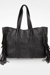 GRECIAN CHICK Black Leather C Fringed Tote Bag