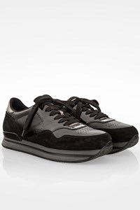 Hogan H222 Black Suede - Leather Sneakers / Size: 39 - Fit: True to size